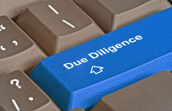 Keyboard for due diligence. Keyboard with key for due diligence Stock Photo