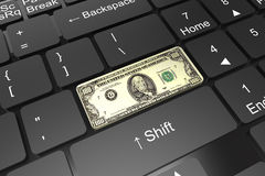 Keyboard enter button with one hundred dollars Stock Photography