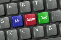Keyboard with family keys Stock Images