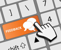 Keyboard feedback button with mouse hand cursor Royalty Free Stock Photos