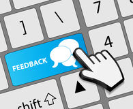 Keyboard feedback button with mouse hand cursor Royalty Free Stock Image