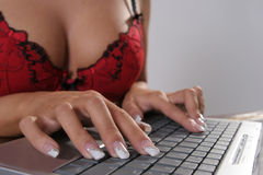 Keyboard and finger Stock Photography