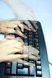 Keyboard with fingers Shadow Royalty Free Stock Images