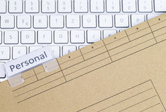 Keyboard and folder personal Stock Photos