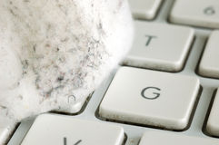 Keyboard Germs. Close-up shot of dirty keyboard and cotton ball Stock Images