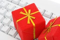 Keyboard with a gifts Royalty Free Stock Photos