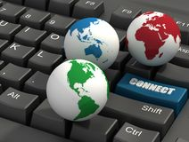 Keyboard and Globes Royalty Free Stock Photos