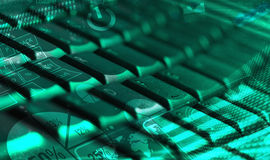 Keyboard with glowing charts Stock Photo