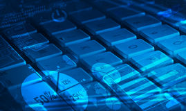 Keyboard with glowing charts Royalty Free Stock Images