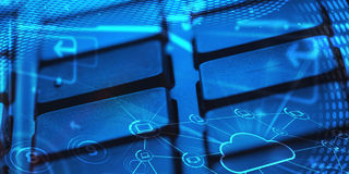 Keyboard with glowing cloud technology icons Stock Image