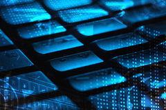 Keyboard with glowing icons Royalty Free Stock Images
