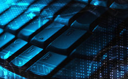 Keyboard with glowing icons. Computer keyboard with glowing icons, technology concept Royalty Free Stock Image