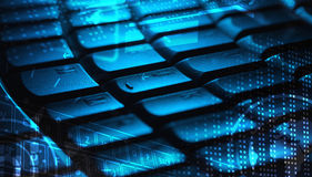 Keyboard with glowing icons Royalty Free Stock Photo