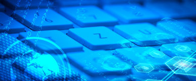 Keyboard with glowing multimedia icons Royalty Free Stock Photo