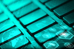 Keyboard with glowing multimedia icons Royalty Free Stock Photography