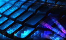 Keyboard with glowing programming codes Stock Images