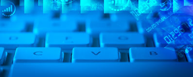 Keyboard with glowing programming codes Stock Photos