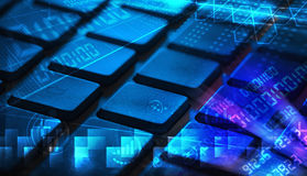 Keyboard with glowing programming codes Royalty Free Stock Images