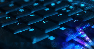 Keyboard with glowing programming codes Stock Photo
