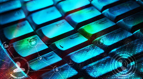 Keyboard with glowing social network icons. Computer keyboard with glowing icons, social networking concept Stock Images