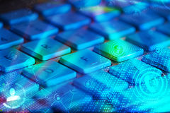 Keyboard with glowing social network icons Stock Images
