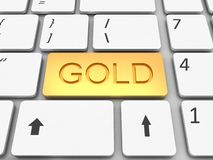 Keyboard gold  key Royalty Free Stock Photos