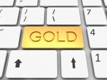 Keyboard gold  key Royalty Free Stock Photos