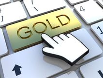Keyboard gold  key Royalty Free Stock Image