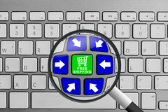 Keyboard with green and blue free shipping online shopping theme Stock Photos