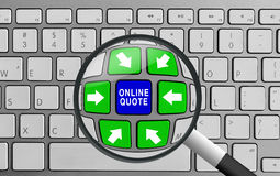 Keyboard with green and blue online quote and magnifying glass Royalty Free Stock Image
