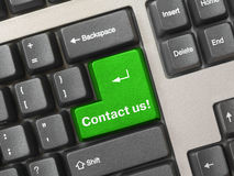 Keyboard - green key Contact us Stock Photos