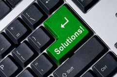 Keyboard with green key Solution Royalty Free Stock Photo