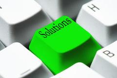 Keyboard - green key Solutions Royalty Free Stock Image