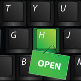 Keyboard with green open sign vector Stock Photo