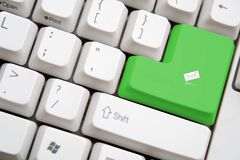 Keyboard with green SENT MAIL button. Concept of keyboard with green SENT MAIL button Royalty Free Stock Images