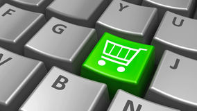 Keyboard green shop cart key Royalty Free Stock Images