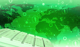 Keyboard on green world map background Stock Photography