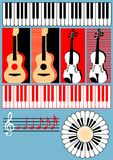 Keyboard, guitar, violin, treble clef, note - symb Stock Photography