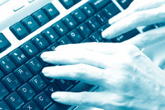 Keyboard and hand Royalty Free Stock Photo