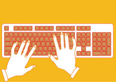 Keyboard&hand Stock Images
