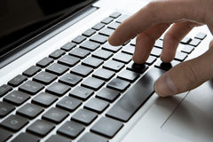 Keyboard with Hand Typing Royalty Free Stock Photo
