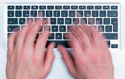 Keyboard and hands Royalty Free Stock Photography