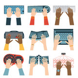 Keyboard hands vector set. Stock Images