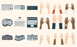 Keyboard hands vector set. Royalty Free Stock Image