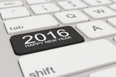 Keyboard - 2016 happy new year - black. 3d rendering of a white keyboard with black 2016 happy new year button Stock Photo