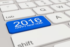 Keyboard - 2016 happy new year - blue. 3d rendering of a white keyboard with blue 2016 happy new year button Royalty Free Stock Photography
