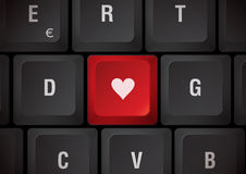 Keyboard with heart. Black keyboard, red touch with heart Stock Image
