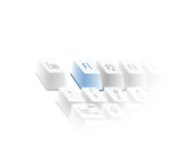 Keyboard help key. A partial view of a computer keyboard with the focus on the F1 or help key. Isolated on a white background Stock Illustration