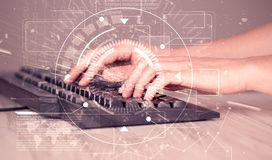 Keyboard with high tech user interface graphic Stock Photography