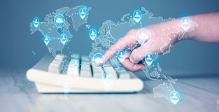 Keyboard with high tech user map icons Royalty Free Stock Image
